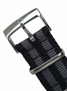 22mm Omega Buckle & NATO ® Strap Black Grey Bond Spectre