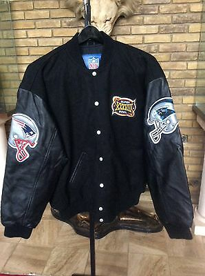 Panthers Large Leather (NEW NFL REEBOK PATRIOTS / PANTHERS SUPER BOWL XXXVIII WOOL LEATHER JACKET -)