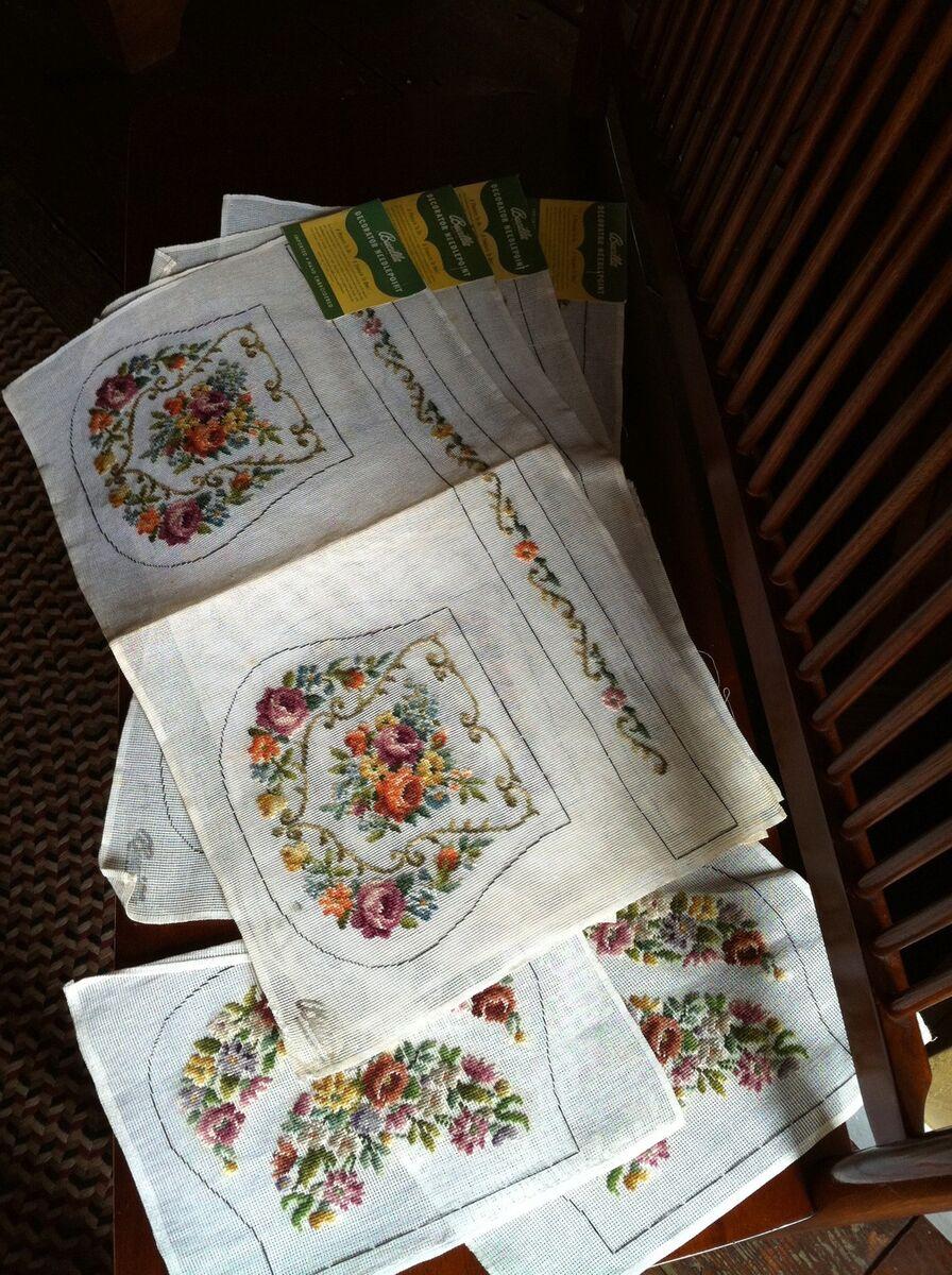 Fabulous 10Pc Bucilla Vtg Preworked Needlepoint Canvas Tapestry Lot Inzonedesignstudio Interior Chair Design Inzonedesignstudiocom