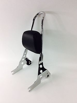 HARLEY SPORTSTER CHROME ONE PIECE QUICK RELEASE SISSY BAR UPRIGHT +PAD NIGHTSTER