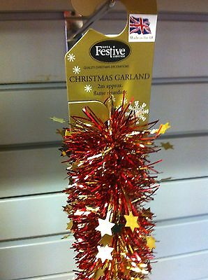 Christmas Garland Tinsel - Red with Gold Star 2x2M  NEW Made in UK    - Halloween Garlands Uk