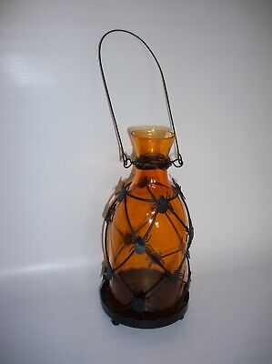 Vintage Halloween Candle Lantern Amber Glass with Spiders and Wrought Iron