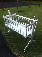 White Wooden Vintage Baby Cradle Figtree Wollongong Area Preview