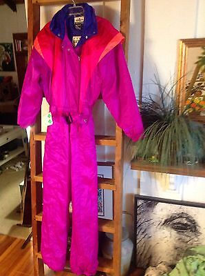 VINTAGE Womens OBERMEYER Sport Hot Pink Thinsulate Thermal SKI SUIT sz 12