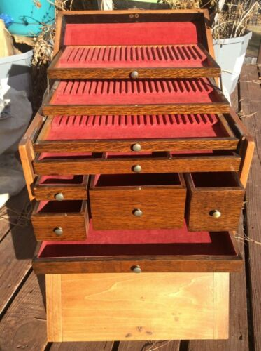 ANTIQUE DENTIST DENTAL INSTRUMENT TOOL CHEST BOX 9 DRAWER WOOD W/LINING DOVETAIL