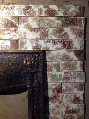 Complete Set Vintage Victorian Antique Fireplace Tile Tiles Mantle Bronze Olive