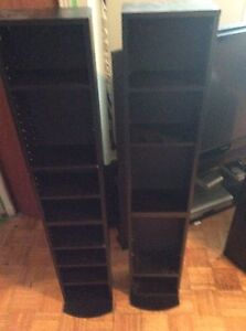 Wooden cd/DVD stands with shelves black
