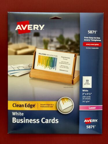 Avery 5871 Laser Two-Sided Clean Edge White Business Cards - Partially Used