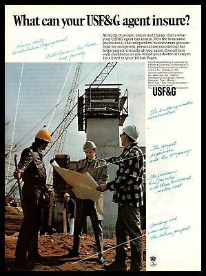 1970 USF&G Life Insurance Agent Hard Hats Construction Job Site Vintage Print Ad