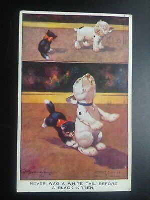 Carte postale fantaisie Bonzo chient et chat