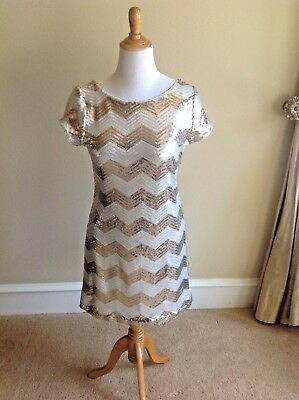 White House Black Market Sequin Gold Silver Chevron Zig Zag Party Dress Holiday  - White And Black Party
