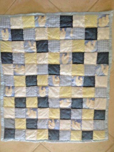"NEW Handmade blue & yellow ,baby quilt, boy,  Polar bears,  34"" x 40"""