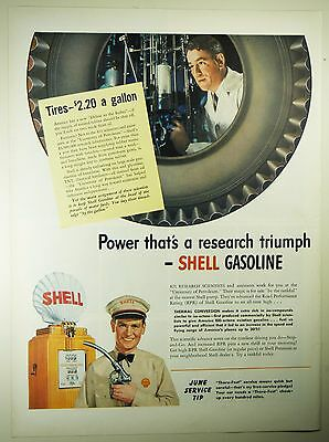 Vintage 1941 SHELL GASOLINE Lg Magazine Print Ad: RESEARCH