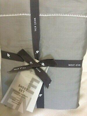 Organic Cotton Sateen Pillow Cases - West Elm 400 TC Sateen Organic Cotton Queen Sheet Set Platinum Gray Scallop