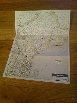 1990 Hertz Rent A Car Rental Area Map Of Maine H M  Hm Gousha Rare Me Road Oop