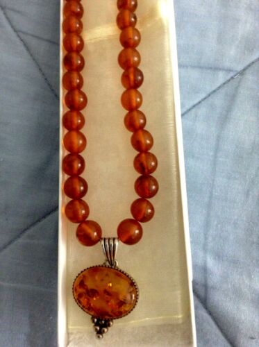 "RUSSIAN Vintage Baltic Honey AMBER 17"" NECKLACE & 925 Silver AMBER 1.5"" PENDANT"