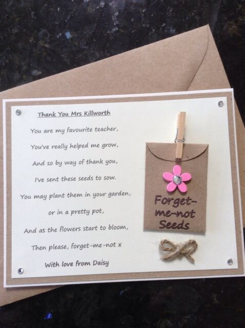 Personalised Thank You Poem Gift Magnet. Pre-school/Nursery/Teacher/Assistant P