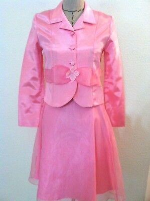 (Vintage 50's women suit skirt pink sheer aline skirt floral blazer size XS S )