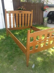 Solid wood double full bed frame