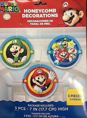 Super Mario Party Supplies Decorations Honeycomb hanging 3 ct.](Super Mario Party Decorations)