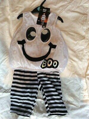 BNWT SAINSBURY'S TU SPOOKY GHOST CHILD/BABY FANCY DRESS - Ghost Baby Halloween Kostüm