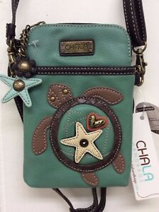 Chala Turtle Teal Cell Phone Crossbody Small Convertible Purse New
