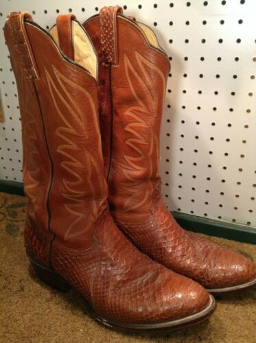 Bona, Allen, , Mens, Snakeskin, , Leather, Pull, On, Brown, Cowboy, Boots, US, Size, 10, D