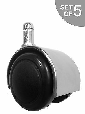 Chrome Office Chair Caster Soft Wheels For Hard Floors - Set Of 5 - S4129-5