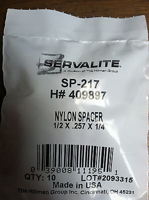 "NYLON SPACER 1/2 X .257 X 1/4"" PACK OF 10"