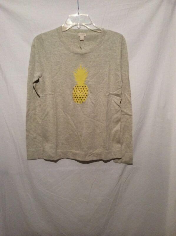 NWT J Crew Intarsia Pineapple Sweater - S