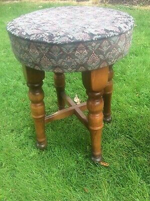 Vintage Solid Wood Pub Bar Stool Ideal Mancave Seating Wooden Legs Comfy Seat