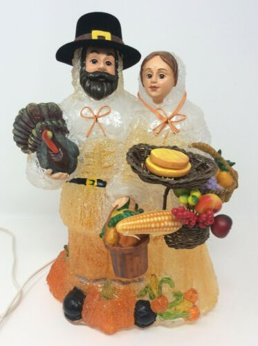 Thanksgiving Pilgrim Couple Iced Blow Mold Lamp 13""
