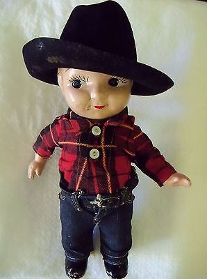 """Buddy Lee Jeans Cowboy Composition Doll 1920-1940's 13"""" tall"""