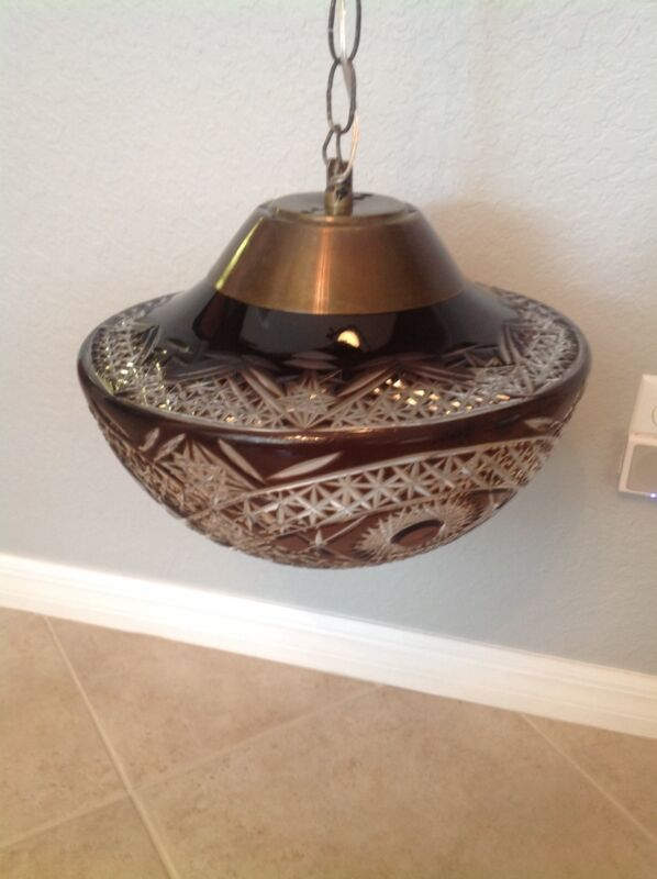 """Monumental Bohemian Red Cut To Clear Glass Hanging Light - 14 1/2"""" dia VERY RARE"""