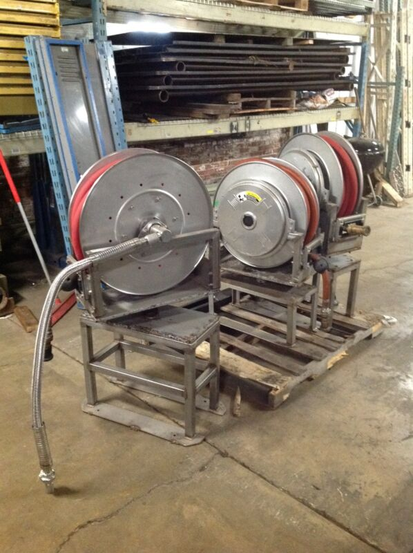 Hannay Stainless Steel Hose Reel, Stand, Hose, & Nozzle Spring Rewind