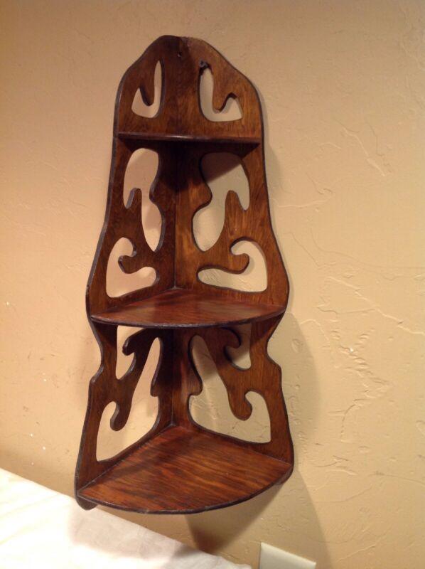"Vintage 23"" Hand Made Three Shelf Scroll Cut Corner Wooden Wall Shelf"