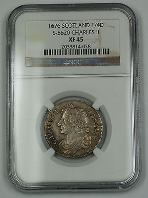 Click now to see the BUY IT NOW Price! 1676 SCOTLAND 1/4 DOLLAR SILVER COIN S 5620 CHARLES II NGC XF 45 AKR