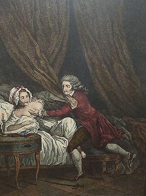 Barockzeit Casanova beim Stelldichein französischer Stich Weiblicher Akt Barock