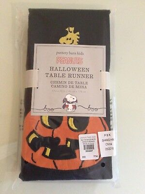 Pottery Barn peanuts snoopy halloween Table runner decor Holiday cloth woodstock