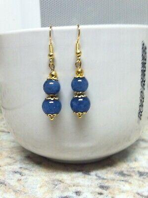 Women's New Pierced Drop/Dangle Lapis Blue Jade Beaded Earrings