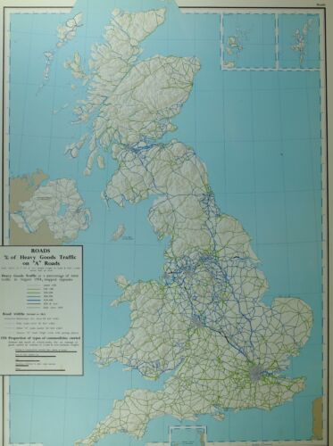 VINTAGE LARGE MAP OF BRITAIN ROADS PERCENTAGE OF HEAVY GOODS TRAFFIC ON A ROADS
