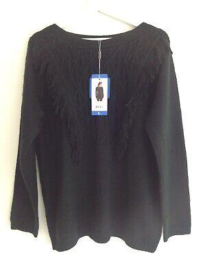 Joseph A Ladies Black Fringed Front Long Sleeve Jumper Size L Acrylic Soft