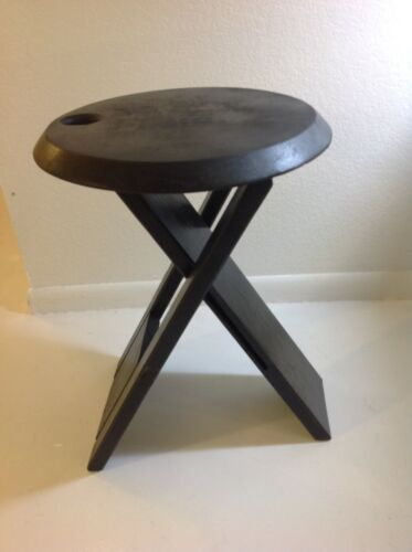 Roger Tallon TS Style Folding Stool Black Birch 1970