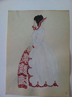 1924 Original Painting 16th Century Elizabeathen Ladys Fashion Dress