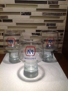 Set of 3 RARE Vintage Molson chalice Beer glasses