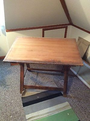 Old Antique Wooden Art Architects Drawing Table Desk Adjustable Height