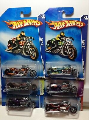HOT WHEELS - AIRY 8 - LOT OF 6 - REBEL RIDES*FIRST EDITION*CUSTOM BIKES*RACE
