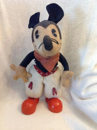 1930s Walt Disney Knickerbocker Large Cowboy Mickey Mouse Doll with Cereal Box