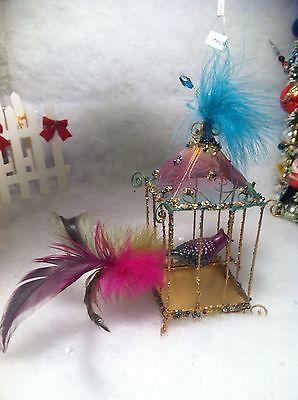Birdcage w/ glass bird & Feathers Christmas tree Ornament Beaded wire bird cage