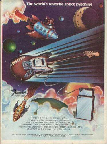 1973 FENDER MUSTANG RACING STRIPE GUITAR VINTAGE PAGE AD